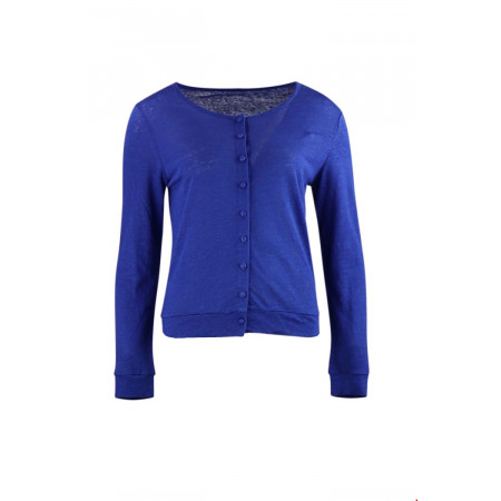 CARDIGAN COL ROND 100% LIN